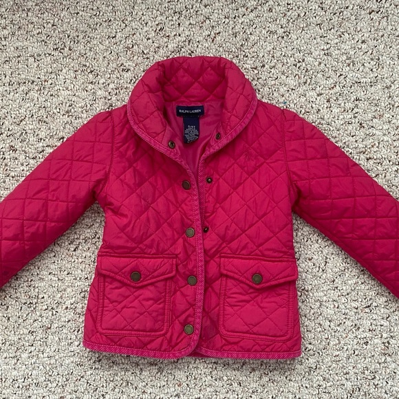 Girls 4T Polo Ralph Lauren pink quilted jacket